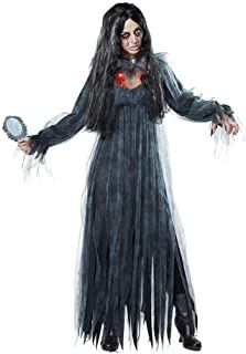 Women Scary Zombie Bloody Mary Costume Halloween Horror Ghost Bride Dress Black