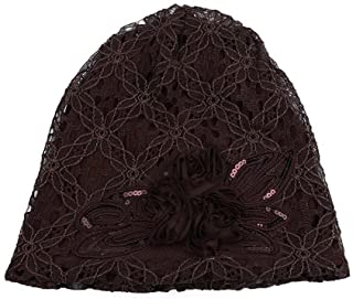 Londony Hats & Caps, Lace Ruffle Floral Chemo Hat Cancer Caps Cotton Winter Beanie Warm Hats for Women
