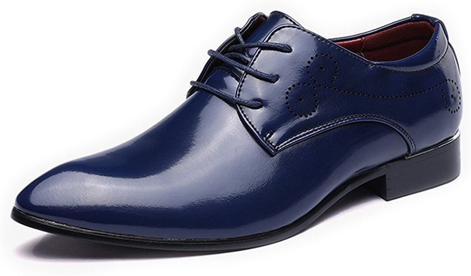 Classic Men's shoes Smooth Upper PU Leather Lace Up Pointed Toe Breathable Lined Oxfords (color   blueee, Size   9.5 UK)