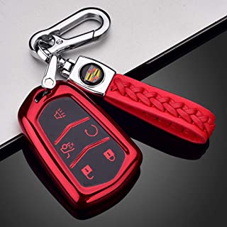 121Fruit Way Key Fob Cover for Cadillac, Key Fob Case for 2015-2019 Cadillac Escalade CTS SRX XT5 ATS STS CT6 5-Buttons Premium Soft TPU 360 Degree Full Protection Red