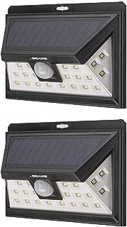 Mr Beams Solar Wedge Plus 24 LED Security Outdoor Motion Sensor Wall Light, 2 pack, Black