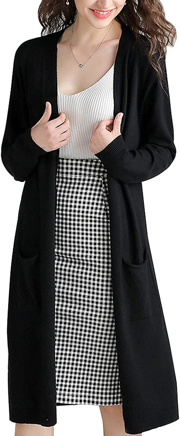 VANGULL Womens Long Cardigan Sweaters with Pockets Open Front Long Sleeve Knit Loose Outwear Coat