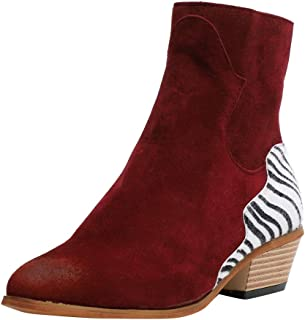 Malbaba Zebra Ankle Boots for Women, Suede Women's Short Ankle Boots