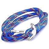 Unendlich U Infinito U Pulsera Trenzada Nylon Cuerda Aleación Punk Gancho de Pesca para Mujer para Hombre Wrap Pulsera Brazaletes de Múltiples Capas, Color de Azul
