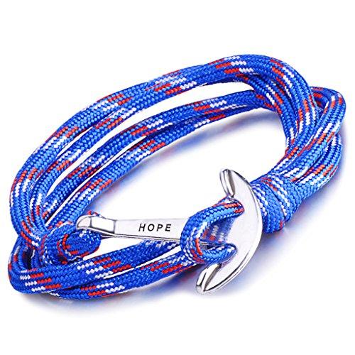 Unendlich U Hope, braccialetto intrecciato in corda di nylon, multistrato, con ciondolo a forma di ancora, confezione da 1 o da 5  e base metal, colore: Blau, cod. B2352-blue