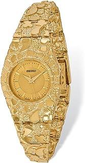 14k Yellow Gold Men's Ladies Circular Champagne 22mm Dial Nugget Watch 7