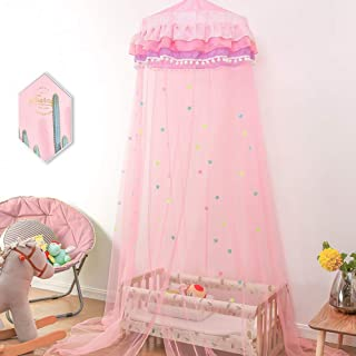 Twinkle Star Princess Bed Canopy with Ruffle Lace for Baby, Girls, Bonus Nightlight Star (Pink)
