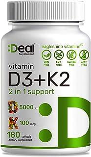 Vitamin D3 K2 Softgel, 180 Counts, 2-1 Complex, Vitamin D3 5000 IU & Vitamin K2 MK7 MK4, Promotes Heart, Bone & Teeth Heal...