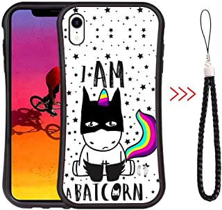 iPhone Xr Slim Waist Curved Phone Case Black Luxury Shape Design Cover Cute Background Unicorn Wallpaper Light Phone Shell Shockproof Protector Shock Absorbent