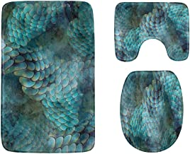 Colorful Beautiful Mermaid Bathroom Rug Mats Set 3-Piece,Soft Shower Bath Rugs,Contour Mat and Toilet Seat Lid Cover Non-S...