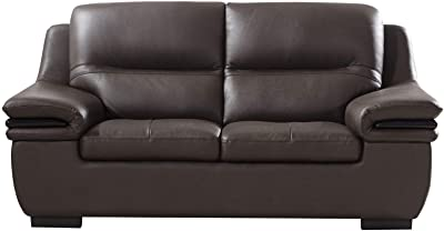 Benjara Contemporary Leather Loveseat with Wooden Trim Armrest and Block Feet, Brown