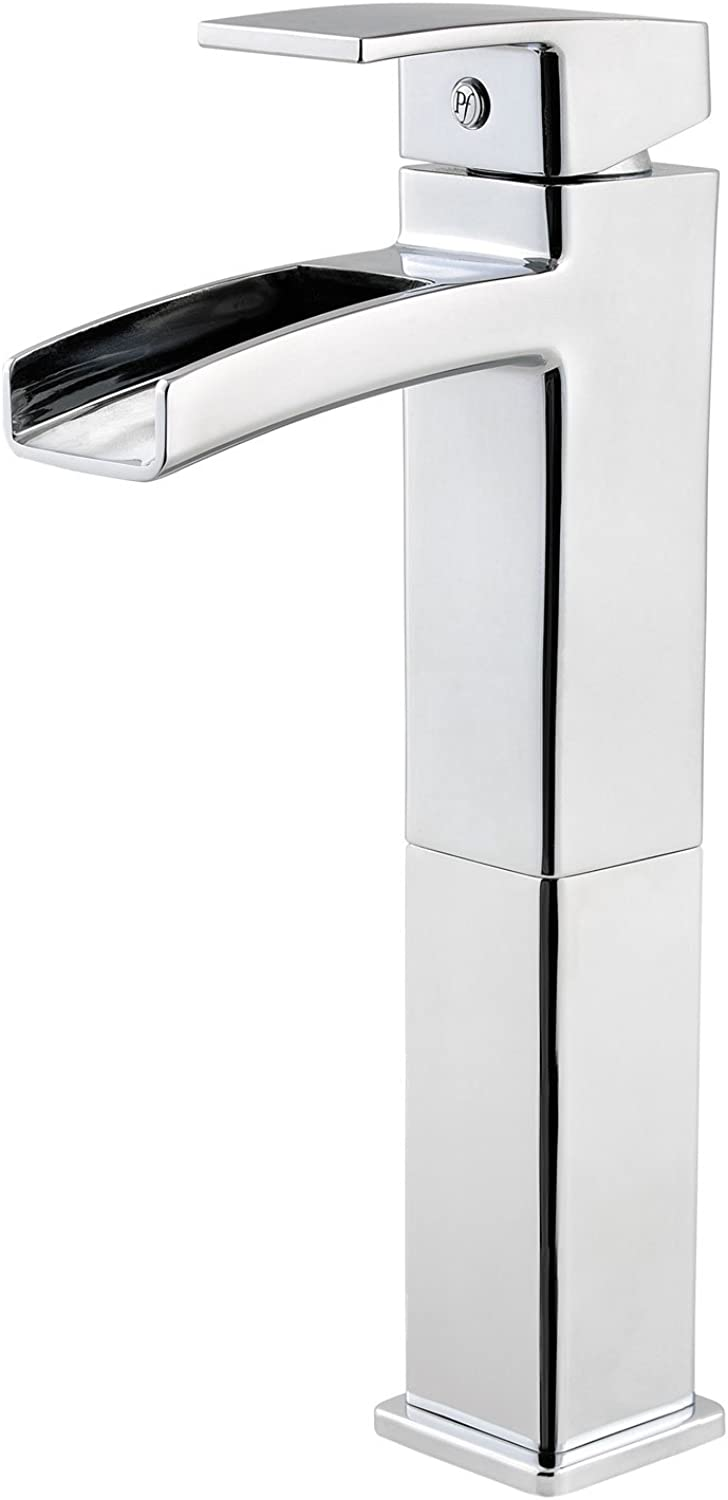 Pfister LG40DF0C Kenzo Single Control Waterfall Vessel Bathroom Faucet in Polished Chrome, Water-Efficient Model