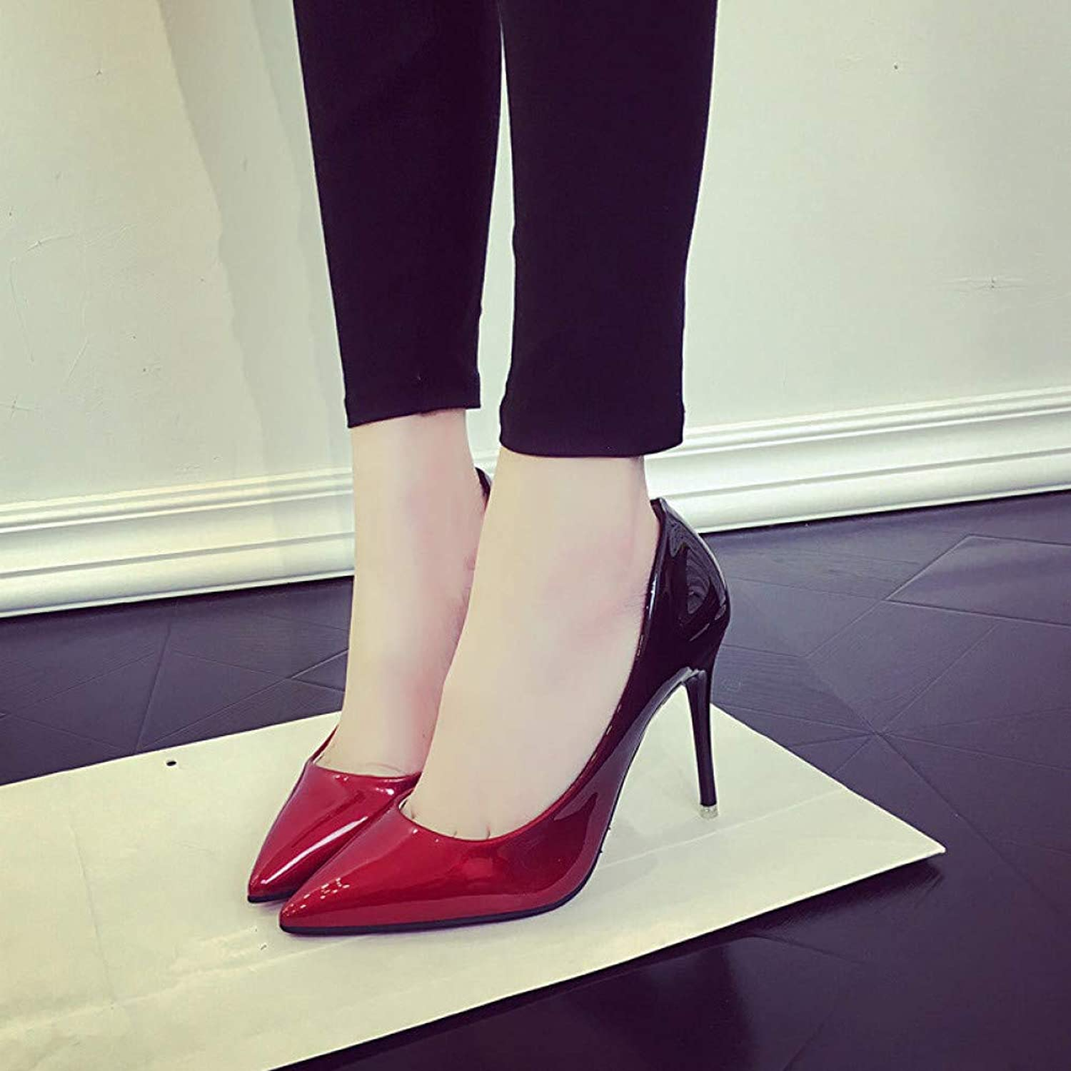 UKJSNHH igh Heels Women shoes Pointed Toe Pumps Patent Leather Dress Wine Red 8CM High Heels Boat shoes Wedding shoes