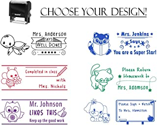 Self Inking Personalized Customized Teacher Stamp Completed in Class Please Sign & Return Well Done Home Work Grading Stamp Stamper Custom Large Motivation Recognition