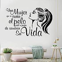 YINSHENG Pegatinas de Pared de Oficina Citas en español Tatuajes de Pared Una Mujer cortándose el Pelo está cambiando su V...