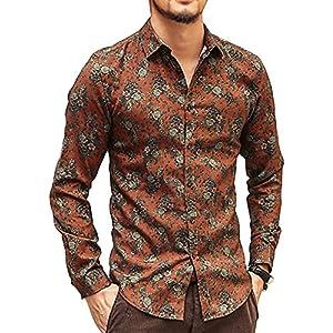 [ミックスリミテッド] シャツ メンズ 長袖 花柄 花柄シャツ アロハシャツ タイト 細身 起毛 mixflws01x-A-ORG