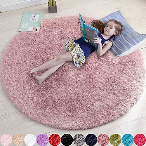Alfombra redonda suave para dormitorio, alfombra esponjosa para sala de estar, alfombra de pelo para habitación de niños, alfombra circular peluda para habitación de bebé, alfombra de felpa difusa, alfombra gris, rectangular, bonita decoración de habitación para bebé