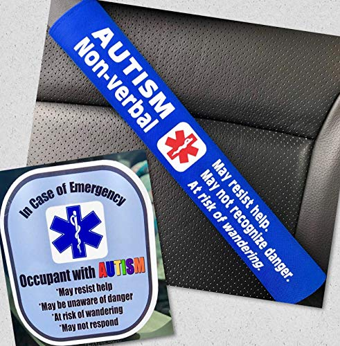 Autism Non-Verbal Medical Alert Seat Belt Cover and Window Decal Set (Royal Blue)