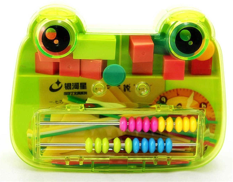 受賞椅子法律によりクラシックカウント計算機 1セット カエル学習ボックス 幾何学ジグゾーパズル カウントスティック 学習時計 パズル 教育補助 (グリーン)