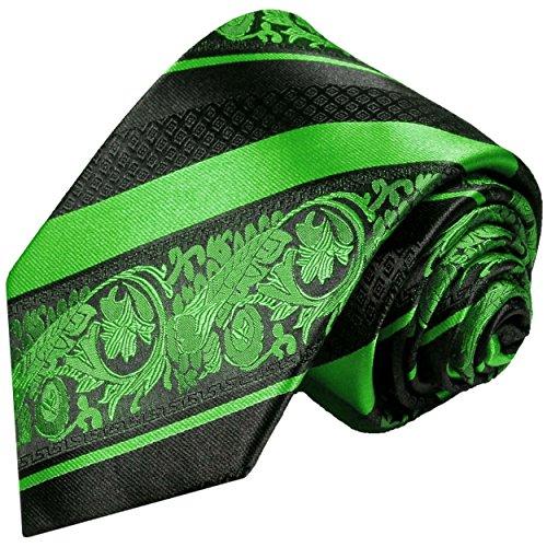 Grün schwarz gestreifte Krawatte 100% Seidenkrawatte
