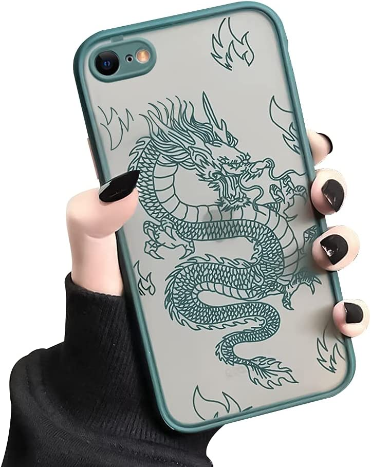 Ownest Compatible with iPhone 7/8/SE 2020 Case for Clear Fashion Animal Dragon Cartoon Pattern Frosted PC Back 3D and Soft TPU Bumper Silicone Protective Case for iPhone 7/8/SE 2020-Green-M