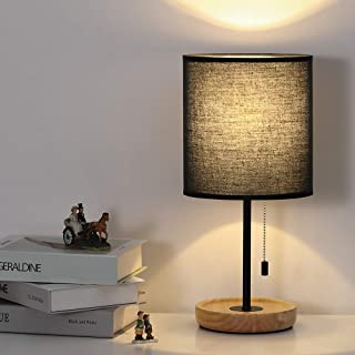 Nightstand Lamp, Bedside Table Lamp, Wood Base Desk Lamp with Black Fabric Shade for Bedroom, Office, College Dorm,Coffee Table