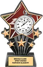 Custom Track-and-Field Super Star Trophy Award with Time Graphic, Free Custom Engraving - 6 1/2 Inch Tall