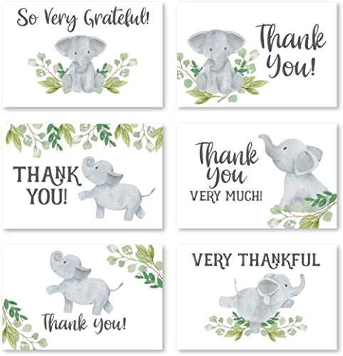 24 Greenery Elephant Thank You Cards With Envelopes, Kids or Baby Shower Thank You Note, Animal 4x6 Varied Gratitude ...