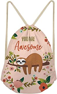 Dzulife Sloth Drawstring Backpack Sackpack Gym Sack Sport Beach Daypack for Women Teen Girls Cycling Dance Bag Floral Pink