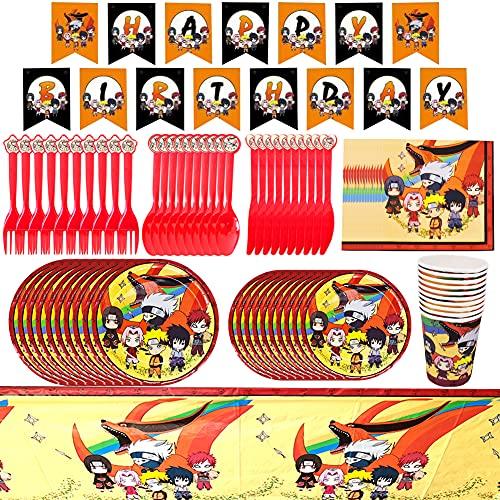 CYSJ Naruto Thema Geschirr Party Set, Enthält Tassen, Teller, Strohhalme, Papier, Messer, Gabeln, Tischdecken, Fahne Ziehen, Kindergeburtstag, Party Deko -82PCS