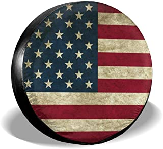 Tire Cover American Flag Reclaimed Wood Potable Polyester Universal Spare Wheel Tire Cover Wheel Covers for Trailer RV SUV Truck Camper Travel Trailer Accessories 17 Inch