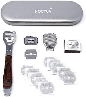 NOCTUA Foot Care Pedicure Callus Shaver Cutter Rasp File Hard Skin Corn Remover Wood Handle 10 Blades (Case Included)