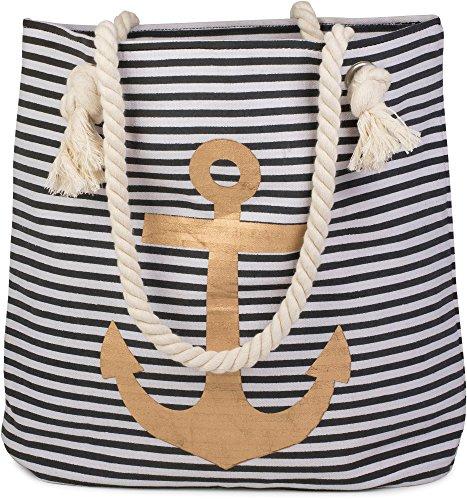 styleBREAKER strandtas in streepjeslook met anker, schoudertas, shopper, dames 02012038, Farbe:Zwart-wit/Goud