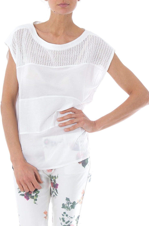 DESIGUAL Women's 73T2YC5 White Cotton TShirt