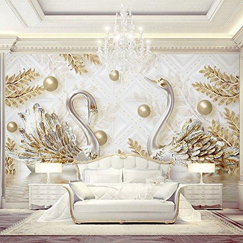 Rureng Im Europäischen Stil, 3D Stereo Relief Swan Golden Leaf Fototapete Wohnzimmer Fernseher Sofa Luxus Hintergrund Wandbild 350X250Cm