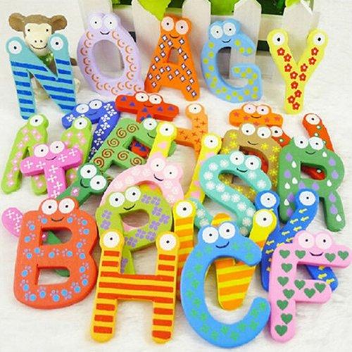 gofar Cartoon 26 Alphabet Magnetic Letters Wooden English Fridge Magnets Baby Education Toys