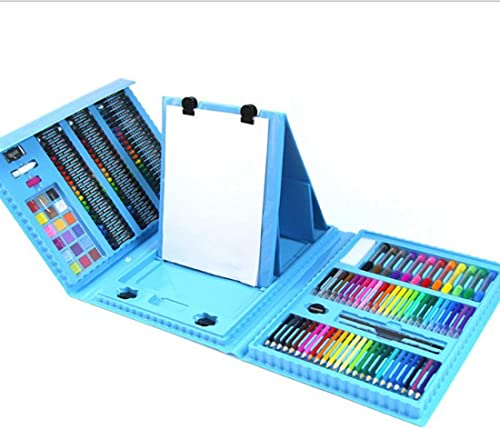 Dhrfyktu 176 Kinder Pinsel Kombination Lernen Schreibwaren Künstlerbedarf Kinder Malerei Geschenkbox Aquarell Pen-Set (Farbe   Blau)