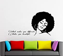 Afro Wall Art Decals Decor - Afro American African Girl Hair Black Women Salon Stickers - Afro Decorations Pictures Posters Motivational Inspirational Quotes AA058