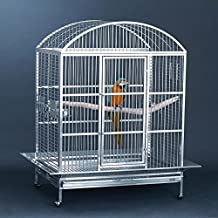 Grande Bird Cages | Beautiful Dome Top Bird Cage in Attractive Pearl White or Platinum Gray | Ideal for Cockatoos, Macaws, Toucans | 42L x 30W x 60H Inches, 200 lbs. | Includes ALL Accessories