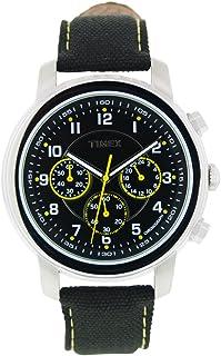 Timex - Milan Chronograph - Reloj de Caballero de Cuarzo, Correa de Textil Color Negro (con luz, cronómetro)