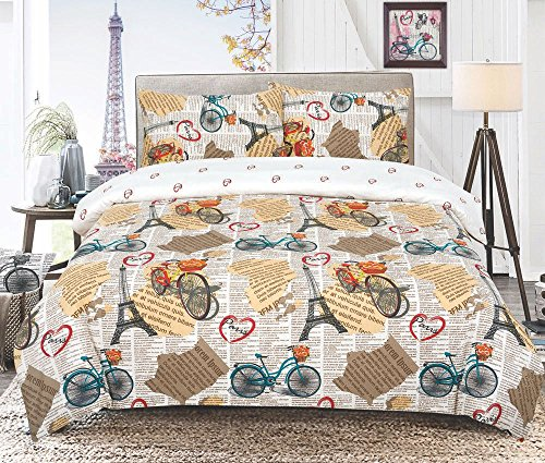 Todd Linens 3 Pcs Vintage Paris Heart Love Reversible Duvet Cover Set with 2 Pillowcases - Bedroom Decor for Quilts, Comforters with Stud Button Closure   50-50 Polyester-Cotton Blend (Double, Cream)