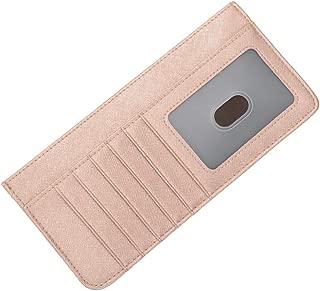RFID Blocking Genuine Leather Zip Around Accordion Credit Card Holder Wallet with ID Card Window