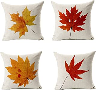 All Smiles Decorative Fall Throw Pillow Covers Cases Outdoor Autumn Decor Thanksgiving Maple Leaves Cushion Cotton Linen for Patio Couch Home Sofa Set of 4,18x18