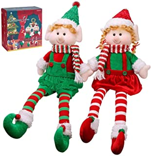 Christmas Elves Decorations Dolls Big Plush Figurines Packed in Color Box Yecence 24