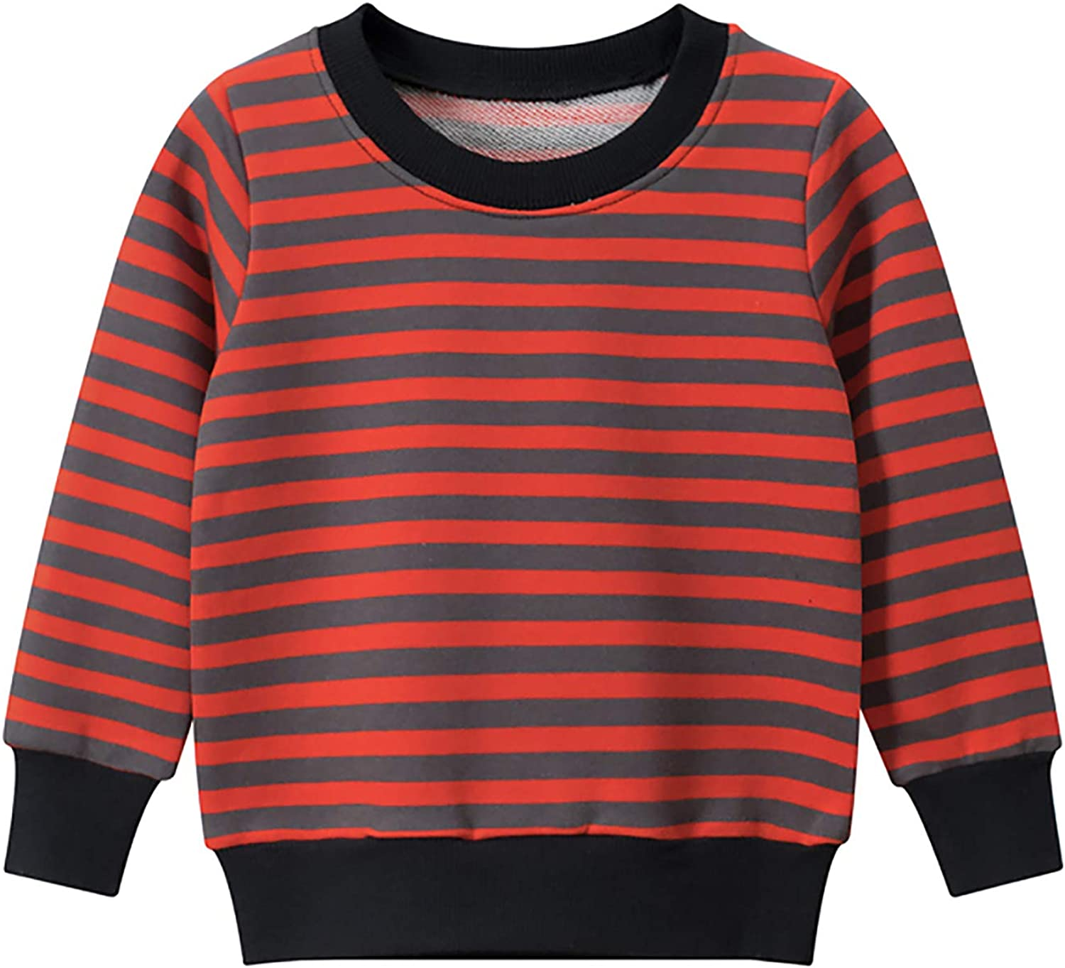 Kids Toddler Girls Boys Striped Sweatshirt Casual Long Sleeve Pullover Tops Tee Shirts Blouse Red 5-6 Years Old
