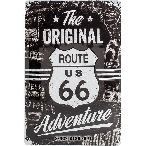Nostalgic-Art Route 66 The Original Adventure Placa Decorativa, Metal, Negro, 20 x 30 cm
