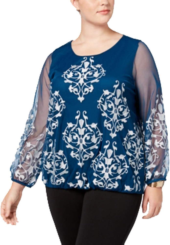 Alfani Plus Size Embroidered MeshSleeve Blouse