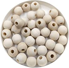 SUPVOX 100 Pcs Unfinished Wooden Beads Natural Round Wood Loose Beads for DIY Jewelry Finding Craft Making