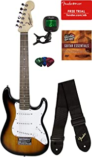 Squier by Fender Mini Strat Electric Guitar - Brown Sunburst Bundle with Tuner, Strap, Picks, Fender Play Online Lessons, Austin Bazaar Instructional DVD, and Polishing Cloth