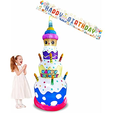 Emalie 7 Foot Tall Inflatable Birthday Cake with Candles & Happy Birthday Banner, Lighted Blowup Yard Lawn Decorations, Large Outdoor Indoor Garden Home Office Party Stage Prop Holiday Decorations